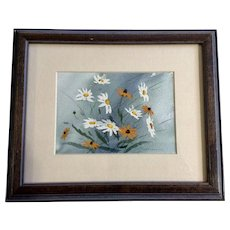 P. Krikorian, Daisies and Black-Eyed Susan Wildflowers Watercolor Painting Signed by Artist