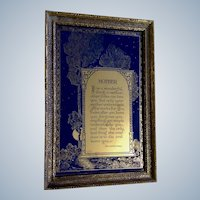 Reverse Glass Print Vintage Mother Poem Quote by American Novelist Baroness von Hutten Blue and Gold 1940's