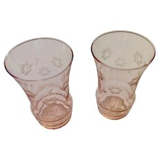 Vintage Pink Depression Glass Etched Flowers Set of Two Juice Glass Tumblers 5""