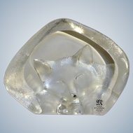 Mats Jonasson Kitty Cat Sleeping Full Lead Crystal Glass Maleras Sweden Signed by Artist #3733