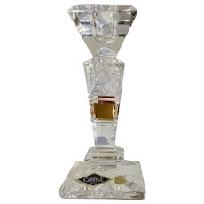 Gorgeous Candlestick Holder Aurum Bohemia Hand Cut Crystal 24% Czech Republic Gold Leaf Rim 6""
