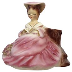 Josef Originals Pink Girl Planter Reading a Book by Stump #230