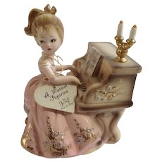 Vintage Josef Original Girl Playing Piano Music Box Porcelain Figurine Plays Humoresque