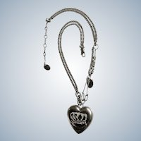 "Juicy Couture Retired Heart Pendant Necklace Love G & P Faux Diamond Silver Tone 16-19"" Chain"