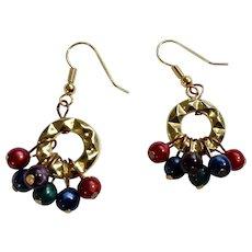 Beautiful Multicolor Beads Gold-tone Hook Pierced Earrings Costume Jewelry