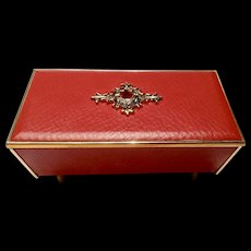 Vintage Gorgeous 1960's Oscar Heiss Co. Music Trinket Jewelry Box Faux Red Ruby & Faux Red Leather Plays Dr. Zhivago Lara's Theme Fine Imports