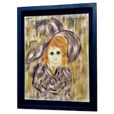 Francois Paris, French Girl Mixed Media Painting 1960's Newspaper Decoupage