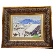 Adelene, Folk Art Turkey Farm In The Snow Acrylic Painting Signed by Artist