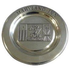 "Maryland Inn Pewter Plate The Treaty of Paris Restaurant Wilton Armetale USA Collectors 11"" Dish"