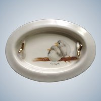 1983 Birds Hand Painted Porcelain Ashtray or Trinket Ring Tray Plate Signed By Artist Ruby Laughlin