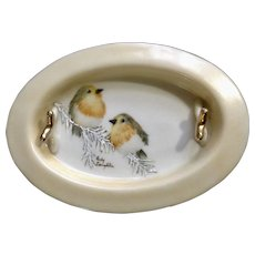1983 Birds Hand Painted Porcelain Ashtray Plate or Trinket and Ring Holder Signed By Artist Ruby Laughlin