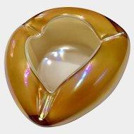 Art Glass Hokuyo H G Yellow Iridescent Rainbow Ikebana Vase Bowl 1950's Hokuvo Japanese
