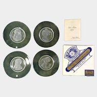 Val St. Lambert 1968 / 1970 Old Masters Crystal Clear Collection, Belgium - Leonardo Da Vinci - Michelangelo - P. P. Rubens - Rembrandt Collectors Plates