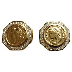 Republique Francaise Coin 1805 Impression Surrounded by Diamond Rhinestones Costume Jewelry Clip-on Earrings Gold Tone
