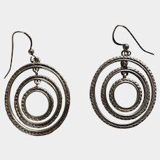 925 Sterling Silver Three Dangling Concentric Circles Vintage Fish Hook Earrings 1-1/4""