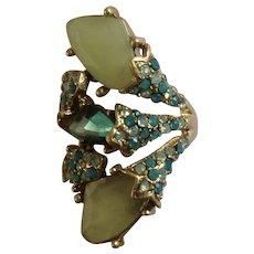 Vintage Green Rhinestone Large Ring Costume Jewelry Size 8