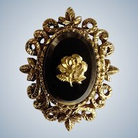 Mourning Golden Rose Pendant Gold-tone Filigree and Black Glass Center Costume Jewelry