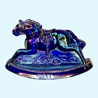 Vintage Rocky Rocking Horse #6 Iridescent Blue Carnival Glass Guernsey Mosser 4-1/4 Inches 1982