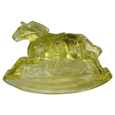 Vintage Rocky Rocking Horse #4 Clear Lemon Yellow Carnival Glass Guernsey Mosser 4-1/4 Inches 1982