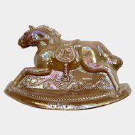 Vintage Rocky Rocking Horse #11 Iridescent Chocolate Brown Carnival Glass Guernsey Mosser 4-1/4 Inches 1982