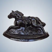 Vintage Rocky Rocking Horse #5 Opaque Black Carnival Glass Guernsey Mosser 4-1/4 Inches 1982
