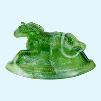 Rocky Rocking Horse #8 Clear Slag Green Carnival Glass Guernsey Mosser