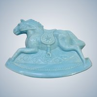 Vintage Rocky Rocking Horse #3 Opaque Light Baby Blue Carnival Glass Guernsey Mosser 4-1/4 Inches 1982