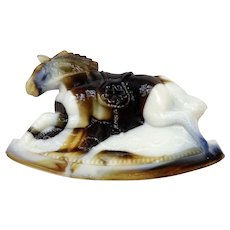 Vintage Rocky Rocking Horse Opaque Slag Marble Coffee Brown and White Carnival Glass Guernsey Mosser 4-1/4 Inches 1981