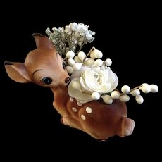 Vintage Walt Disney Productions Bambi Planter Ceramic Pottery Figurine Enesco Made in Japan WDEI46