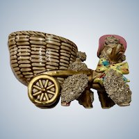 Brown Spaghetti Poodle Dog Cart Figurine Kitsch Planter with Rhinestone Eyes, Glitter, Pink Hat and Bow Classica Inc.