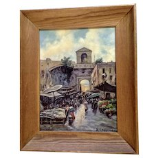D. Caggiano, European Town Square Flower Market, Original Landscape Oil Painting on Board, Signed by Artist
