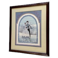 P. Buckley Moss, Amish Couple Spring Wedding, Rare Limited Edition Print Signed by Listed Artist 1986