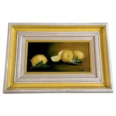 Jan Wagner, Lemon Still Life Oil Painting on Canvas Signed by Artist
