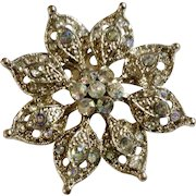 Vintage Aurora Borealis Rhinestones Silver-tone Flower Brooch
