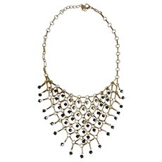 Vintage Elegant Cascading Silver-tone & Black Reflective Beads Gold-tone Chain Necklace