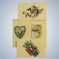 Victorian 1875-1880 Gorgeous Floral Heart Die-Cut Embossed Paper Scrap