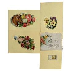 Victorian 1875-1880 Gorgeous Floral Horse Die-Cut Embossed Paper Scrap