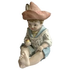 """Vintage Andrea By Sedek Piano Doll Boy Large Bisque Ceramic 6161 Figurine 13"""""""