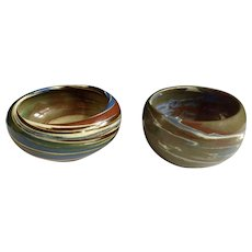 Desert Sands Pottery Mission Type Swirl Bowls Hand Thrown Boulder, Nevada and Barstow California