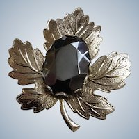Black Mirror Stone Type Pin Glass Silver-tone Leaf Brooch