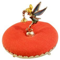Mid-Century Walt Disney Productions Tinker Bell Metal on Retro Pedestal Orange Pincushion Figurine