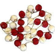 "Vintage Rare 1950's Christmas Tree Garland Paper Honeycomb Balls Glitter Cream & Red  112"" / 9 feet 4"""