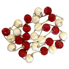 "Vintage Rare 1950's Christmas Tree Garland Paper Honeycomb Balls Glitter Cream & Red  112"" / 9 feet 4"""