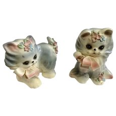 Vintage Josef Originals Puff & Fluff Kitty Cat Mid-Century Japan Figurines