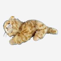 Steiff Tabby Cat Woven Fur Stuffed Plush Animal 2007