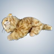 Steiff Red Tabby Cat EAN 099489 Woven Fur Stuffed Plush Animal With Ear Button & Tag Discontinued 2007