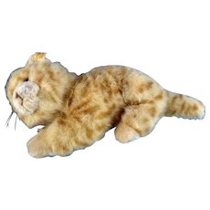 Steiff Tabby Cat Woven Fur Stuffed Plush Animal 2007
