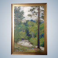 Lester Alphonso Gillette (1855-1940) Estes Park Colorado, Original Oil Painting On Board by Listed Artist