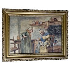 Laura R Boyd, Pricked Finger While Repairing Boot Antique Interior Watercolor Painting Signed by Artist
