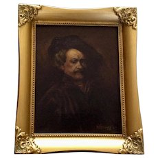 Kr Kellogg, Rembrandt Van Rijn Self Portrait Oil Painting on Canvas 1927 Signed by Artist